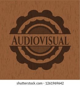 Audiovisual wooden emblem. Vintage.