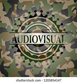 Audiovisual written on a camo texture