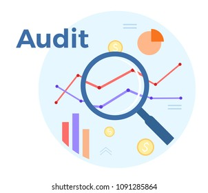Audit analysis vector flat illustration. Concept of accounting, analysis, audit, financial report. Auditing tax process. EPS 10