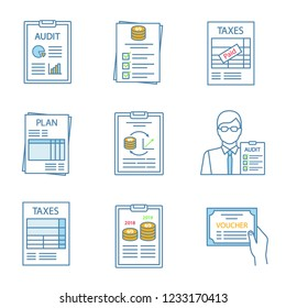Audit color icons set. Auditor's report, budget, tax return, planning, performance audit, auditor, annual report, voucher, charges. Isolated vector illustrations