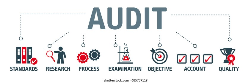 Audit concept. Banner with keywords and icons