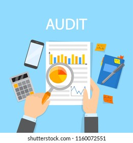Audit concept. Business or financial document analysis and examination with magnifying glass. Isolated flat vector illustration