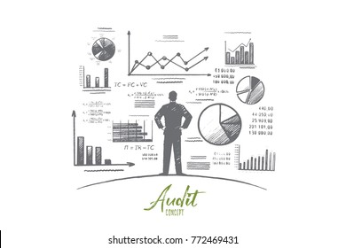 Audit concept. Hand drawn person near wall with charts and diagrams. Auditing business process isolated vector illustration.