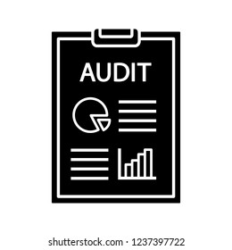 Audit glyph icon. Auditor's report. Accounting and bookkeeping. Assurance service. Annual report and financial statements. Financial inspection. Silhouette symbol. Vector isolated illustration