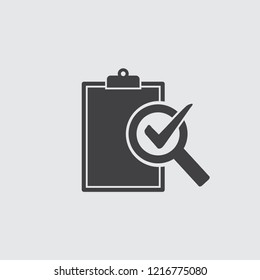 Audit icon in black on a gray background. Vector illustration.
