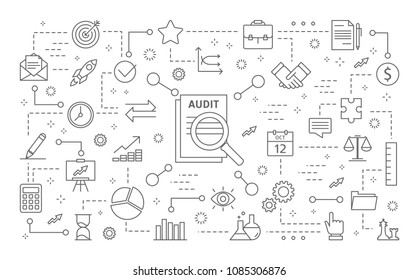 Audit icons set. Line icons on white background.