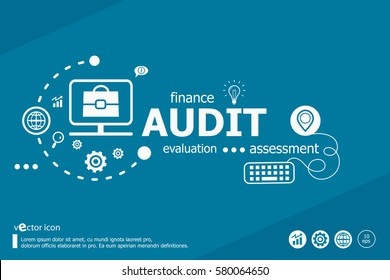 Audit related words and marketing concept. Infographic business. Project for web banner and creative process.