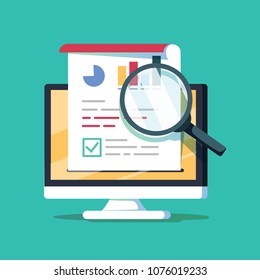 Audit research on computer vector illustration, flat cartoon paper financial report data analysis on pc