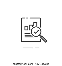 Audit research report icon vector symbol, line outline art design quality control evaluation pictogram, financial fraud check or tax analysis sign, concept of accounting or statistic document label