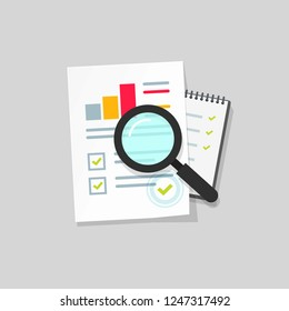 Audit research vector icon, flat cartoon paper financial report data analysis on table, concept of accounting analytics with graphs and charts, digital document success check isolated