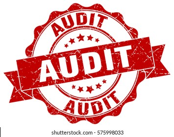 audit. stamp. sticker. seal. round grunge vintage ribbon audit sign
