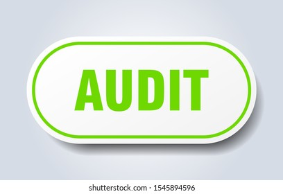 audit sticker. audit rounded white-green sign