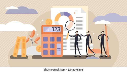 Audit vector illustration. Mini persons systematic independent examination. Concept of accounting economy document research and financial inspection. Flat abstract example for knowledge or education.