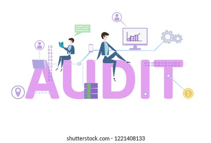 Audit word. Concept with people, letters and icons. Colored flat vector illustration on white background.