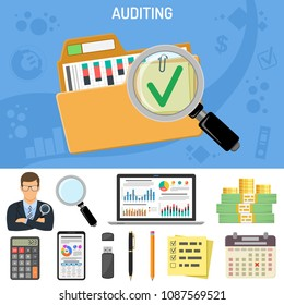 Auditing, Business Accounting Concept. Auditor Holds Magnifying Glass in Hand. Flat Style Icons Folder with checked up Financial Reports, Calculator and money. Isolated Vector Illustration