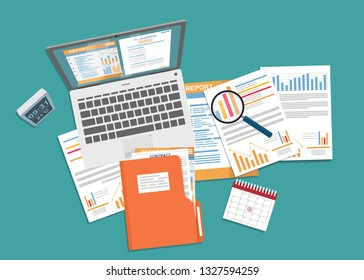 Auditing and business analysis concept. Financial adviser, auditing tax process, big data analysis, auditing tax process, seo analytics, financial report.