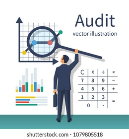 Auditing concepts. Auditor with magnifying glass in hand during examination of financial report. Tax process. Research, project management, planning, accounting, analysis, data. Vector flat design.