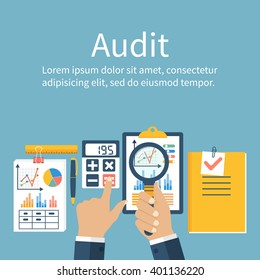 Auditing concepts. Auditor at table during examination of financial report. Financial audit. Auditing tax process. Research, project management, planning, accounting, analysis, data. Vector flat style