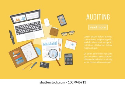 Auditing concepts. Financial analysis, analytics, data capture, planning, statistics, research. Documents, forms, charts, graphs, calendar, calculator, notebook, business card, coffee, pen. Top view.