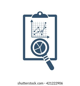 Auditing icon. Magnifying glass with documents. Financial audit. Research, project management, planning, accounting, analysis, data. Vector illustration. Auditing concepts symbol. Data checking