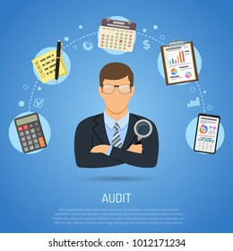 Auditing, Tax, Accounting Concept. Auditor Holds Magnifying Glass in Hand and Checks Financial Report with Charts, Calculator and Smartphone. Flat Style Icons. Isolated vector illustration.