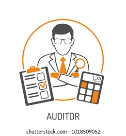 auditing tax accounting concept auditor holds stock vector royalty