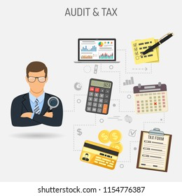 Auditing, Tax, Accounting Concept. Auditor Holds Magnifying Glass in Hand and Checks Financial Report with Charts on Screen Laptop. Flat Style Icons. Isolated vector illustration