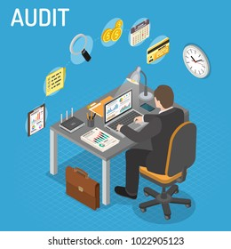 Auditing, Tax, Accounting Isometric Concept. Auditor works on laptop and Checks Financial Report. Charts, magnifier, router and smartphone isometric icons. Vector illustration