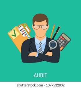 Auditing, Tax, Business Accounting Concept. Auditor Holds Magnifying Glass in Hand and Checks Financial Report with Charts, Calculator and folder. Flat Style Icons. Isolated vector illustration