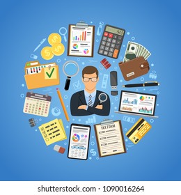 Auditing, Tax, Business Accounting Concept. Auditor Holds Magnifying Glass in Hand and folder with checked up Financial Reports, Calculator and money. Flat Style Icons. Isolated vector illustration