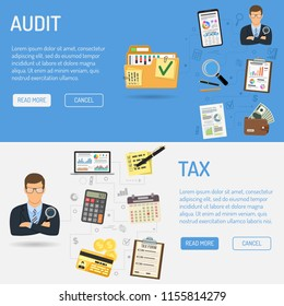 Auditing, Tax, Business Accounting Horizontal Banners. Auditor Holds Magnifying Glass and Folder with checked up Financial Reports. Flat Style Icons. Isolated vector illustration