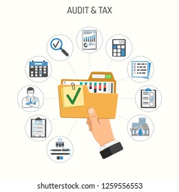 Auditing, Tax process, Business Accounting Infographics. Auditor Holds folder with checked up Financial Reports in Hand. Flat Style Icons. Isolated vector illustration