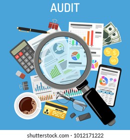Auditing, Tax process calculation, Accounting Concept. Magnifying Glass Checks financial report. Charts on Documents and Smartphone screens. Flat style icons. Isolated vector illustration