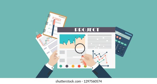 Auditing tax process concept. Man hands with magnifying glass. Flat design of analysis, data, accounting, planning, management, research, calculation, reporting, project management. Top view.