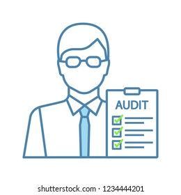 Auditor color icon. Financial inspection. Assurance service. Auditing. Bookkeeper, accountant. Financial evaluation and examination. Isolated vector illustration