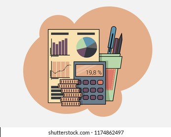 The auditor at consideration of the financial report. Tax process. Research, project management, planning, accounting, analysis, data.