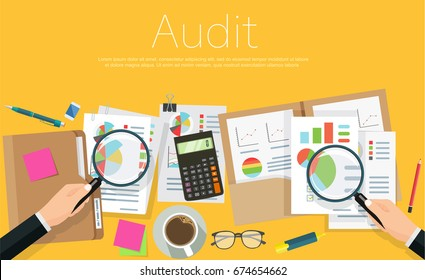 Auditor at table during examination of financial report. Business adviser financial audit, auditing tax process, big data analysis, seo analytics, financial research report.