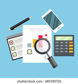 Auditor work desk, accounting paperwork, business research, financial audit, auditing tax process, financial research report,vector