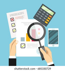 Auditor work desk, accounting paperwork, business research, financial audit, auditing tax process, research report,vector
