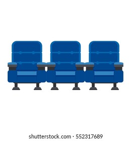 Auditorium and three blue chairs comfortable armchairs in the cinema. Drinks and popcorn, glasses for movie Flat vector cartoon seats illustration. Objects isolated on a white background.