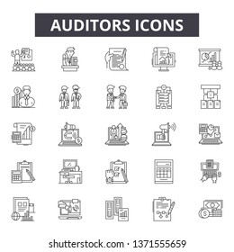 Auditors line icons, signs set, vector. Auditors outline concept, illustration: business,auditor,financial,audit,document,accounting,finance,management