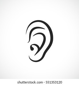 Auditory ear vector icon on white background