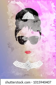 Audrey Hepburn, with black glasses, vector portrait, watercolor style