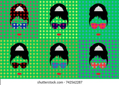 Audrey Hepburn, with glasses, vector portrait isolated, Pop Art Style Andy Warhol
