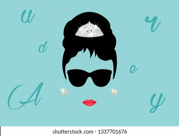 Audrey Hepburn, minimalist portrait with black glasses and pearl earrings vector isolated or blue vintage background