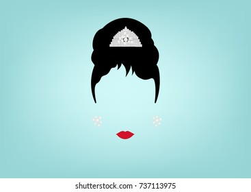 Audrey Hepburn minimalist portrait, with jewels , vector isolated