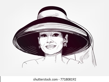 Audrey Hepburn vector illustration sketch style