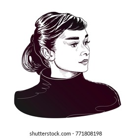 Audrey Hepburn vector illustration sketch style