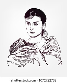 Audrey Hepburn vector portrait sketch illustration