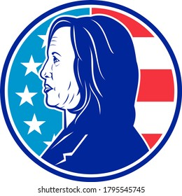 Aug 14, 2020, AUCKLAND, NEW ZEALAND: Retro illustration of American senator Kamala Devi Harris, a Democratic Party vice president nominee viewed from side with USA flag set in circle in full color.